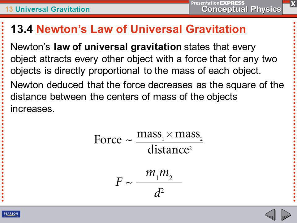 13.4 Newton's Law of Universal Gravitation