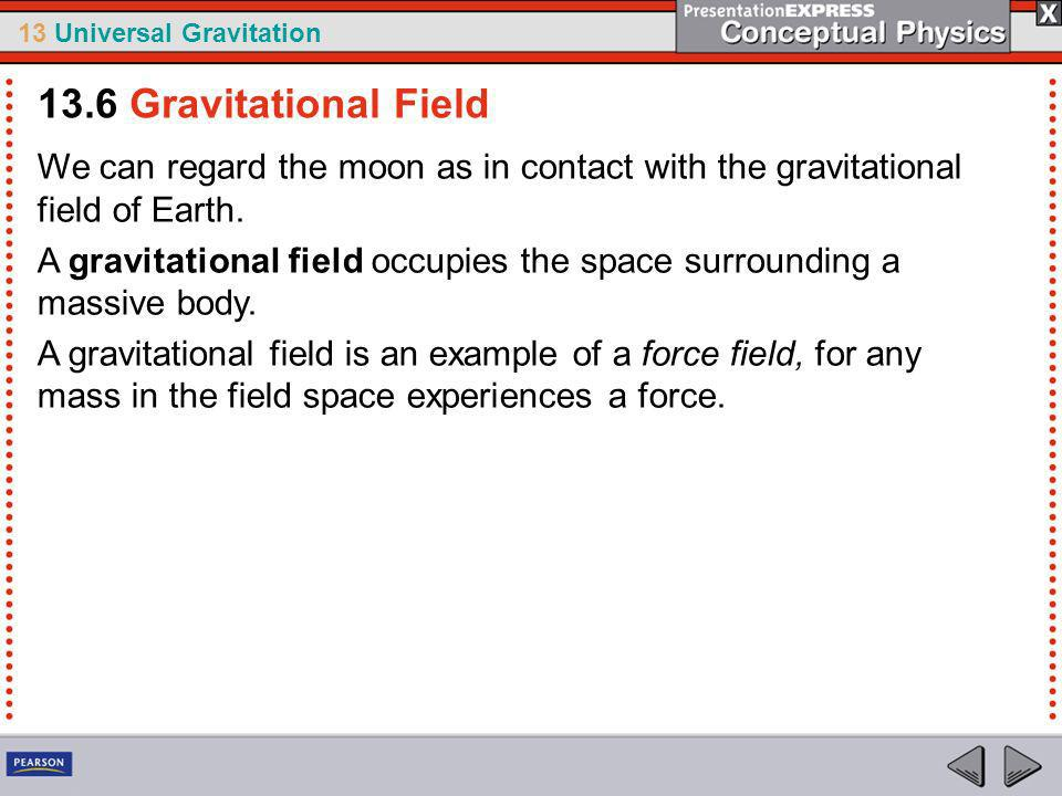 13.6 Gravitational Field We can regard the moon as in contact with the gravitational field of Earth.