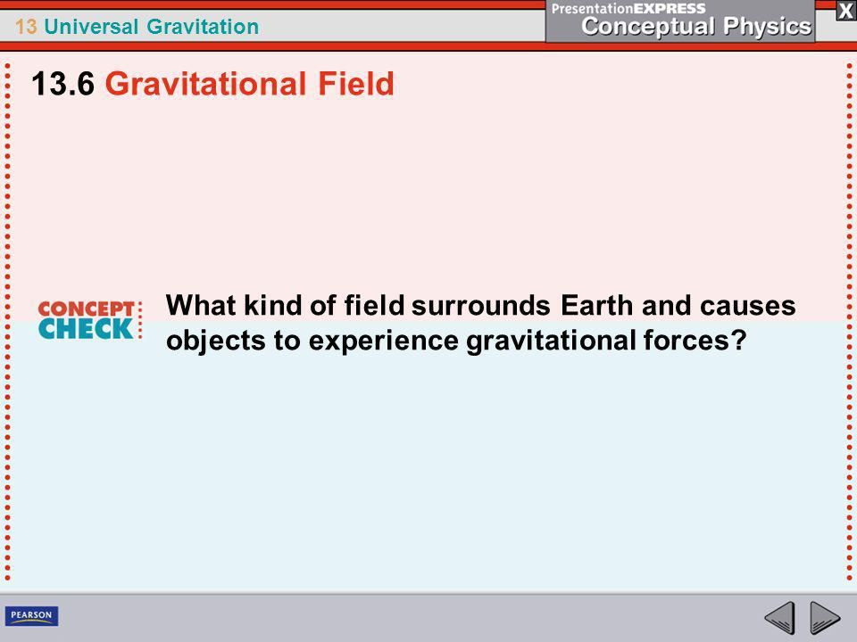 13.6 Gravitational Field What kind of field surrounds Earth and causes objects to experience gravitational forces