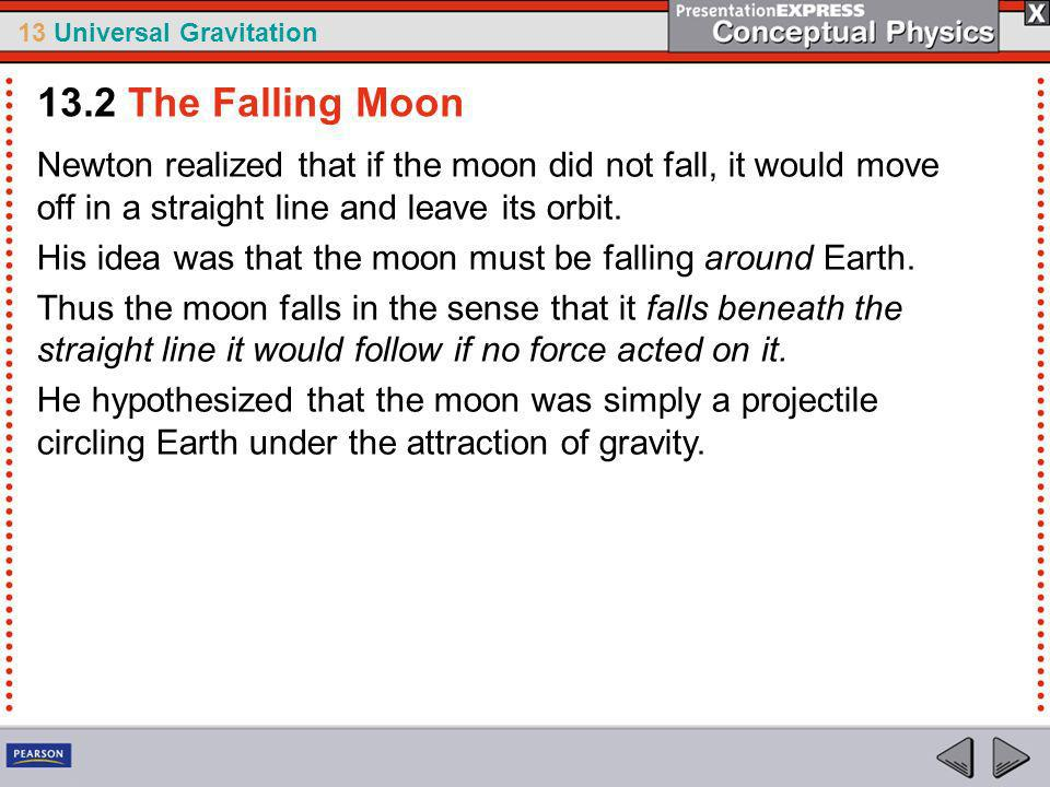13.2 The Falling Moon Newton realized that if the moon did not fall, it would move off in a straight line and leave its orbit.