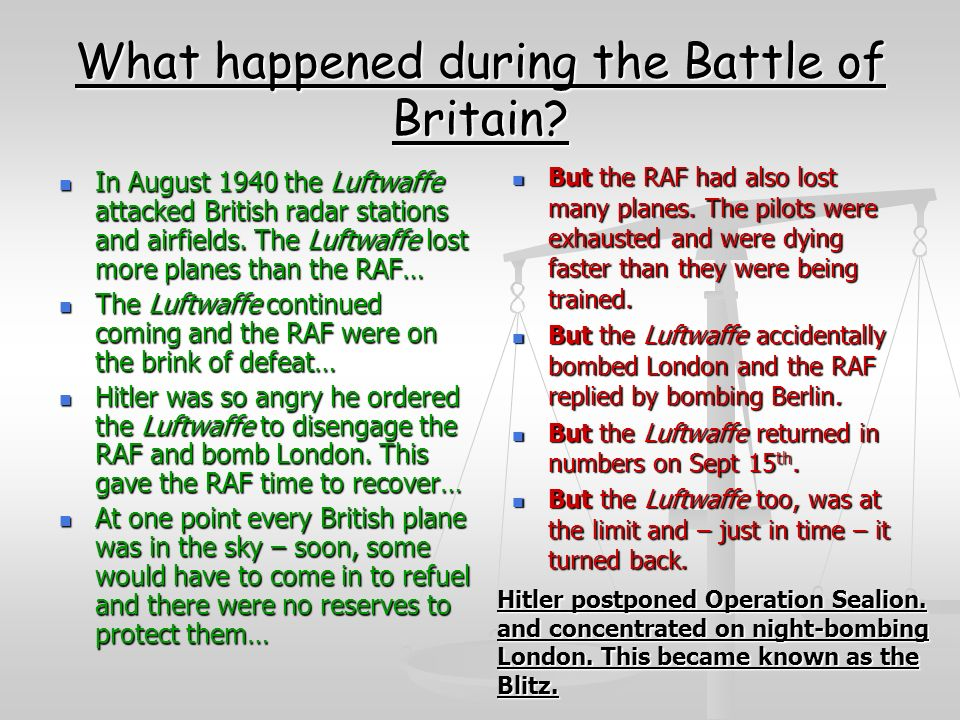 What happened during the Battle of Britain