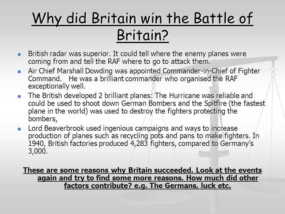 Why did Britain win the Battle of Britain
