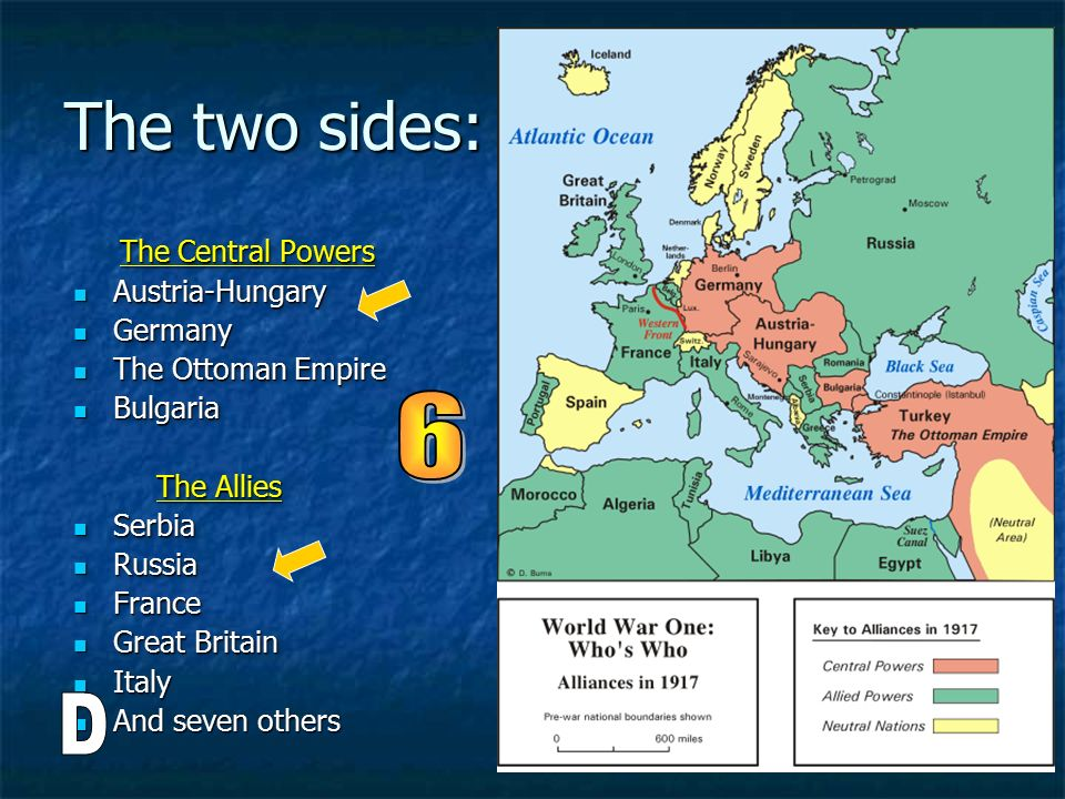 The two sides: 6 D The Central Powers Austria-Hungary Germany