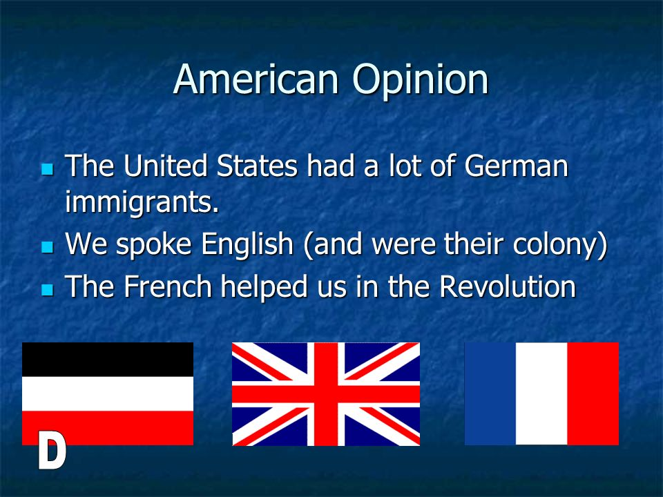 American Opinion D The United States had a lot of German immigrants.