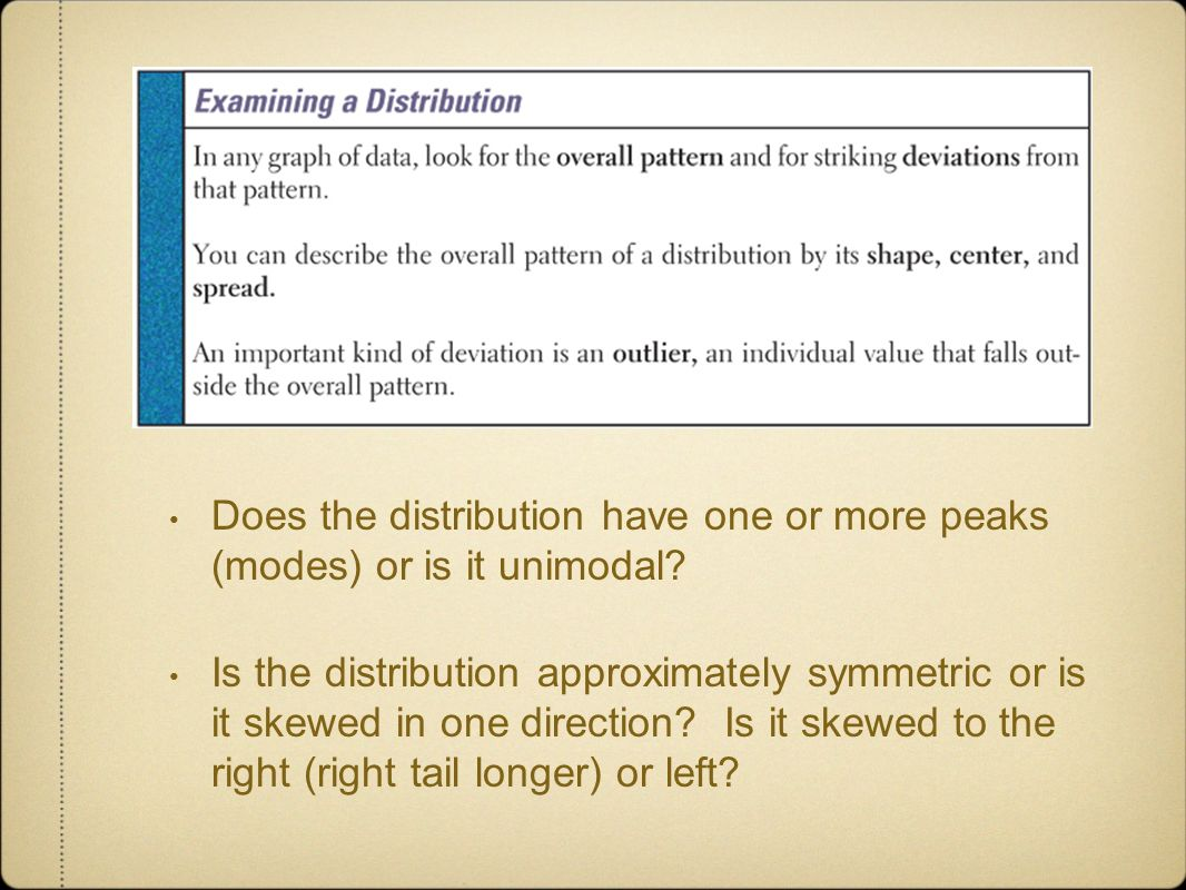 Does the distribution have one or more peaks (modes) or is it unimodal