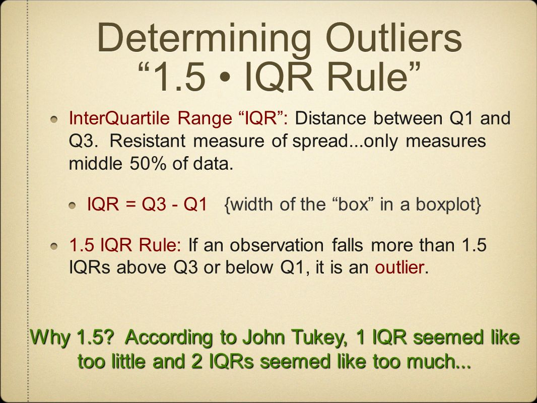 Determining Outliers 1.5 • IQR Rule