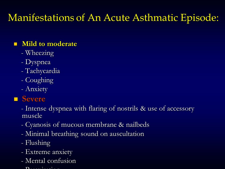 Manifestations of An Acute Asthmatic Episode: