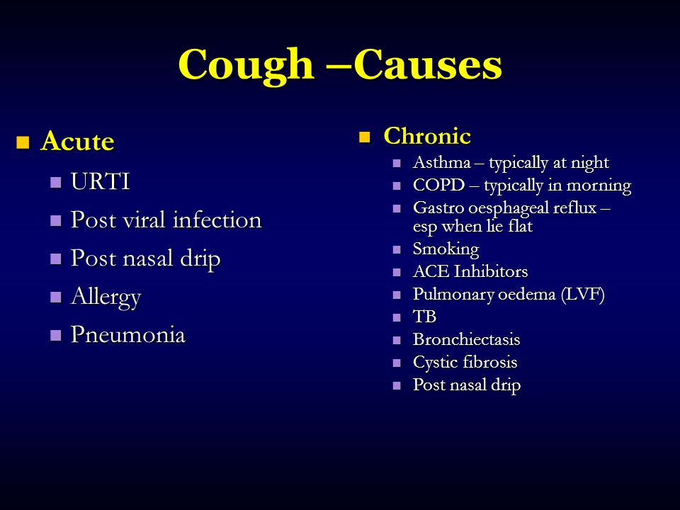 Cough –Causes Acute Chronic URTI Post viral infection Post nasal drip