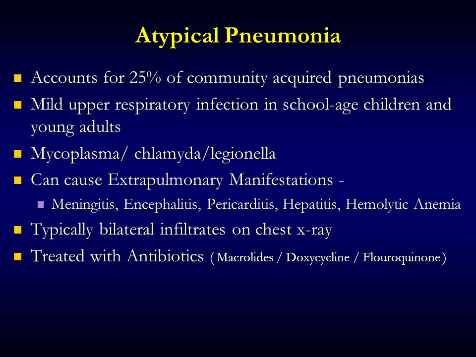 Atypical Pneumonia Accounts for 25% of community acquired pneumonias