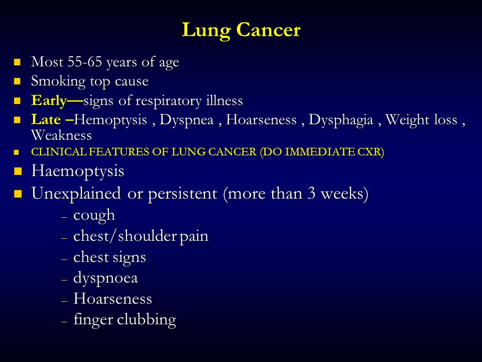 Lung Cancer Haemoptysis Unexplained or persistent (more than 3 weeks)