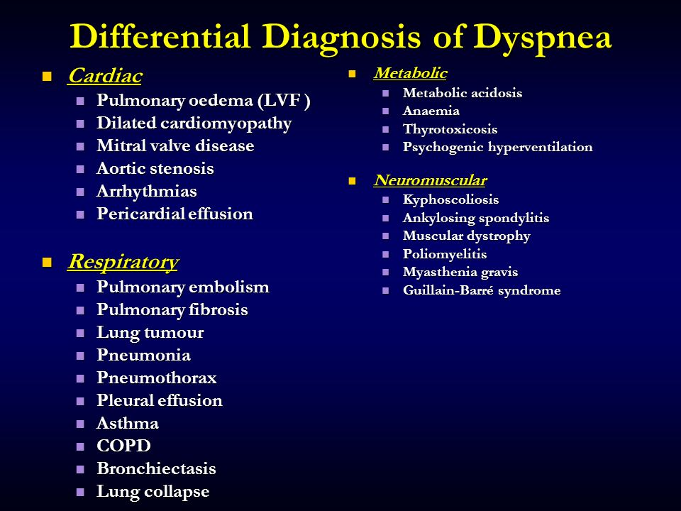 Differential Diagnosis of Dyspnea