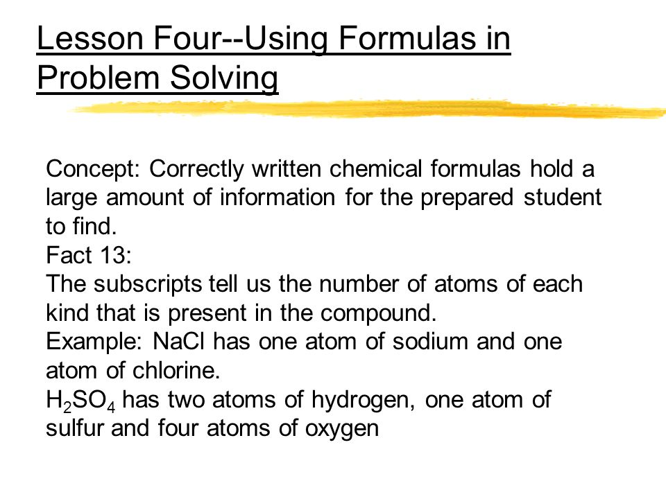 Lesson Four--Using Formulas in Problem Solving