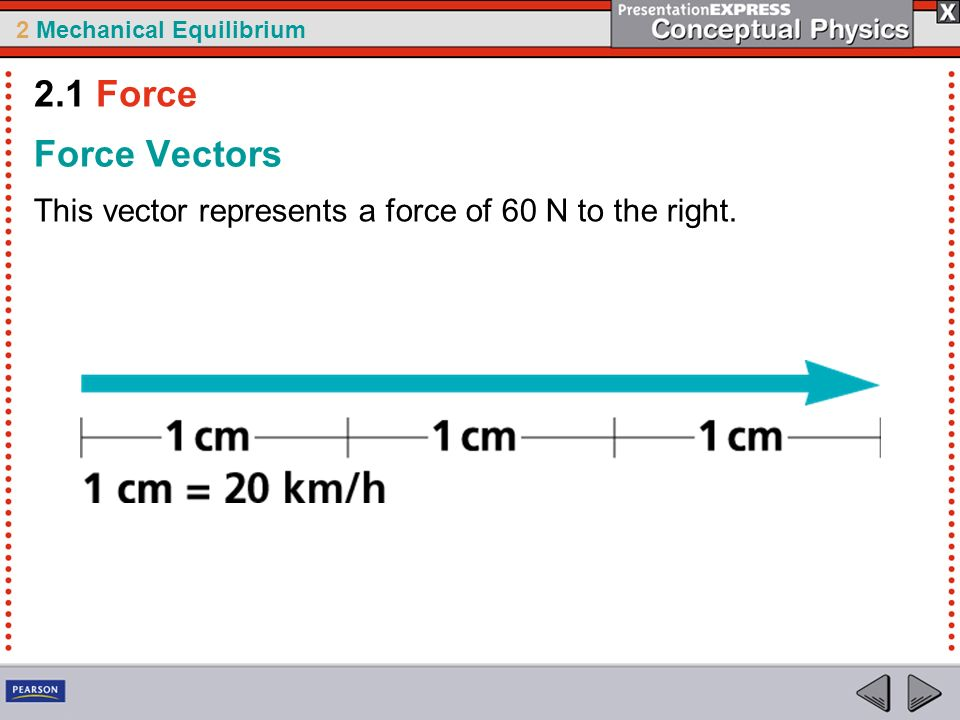 2.1 Force Force Vectors This vector represents a force of 60 N to the right.