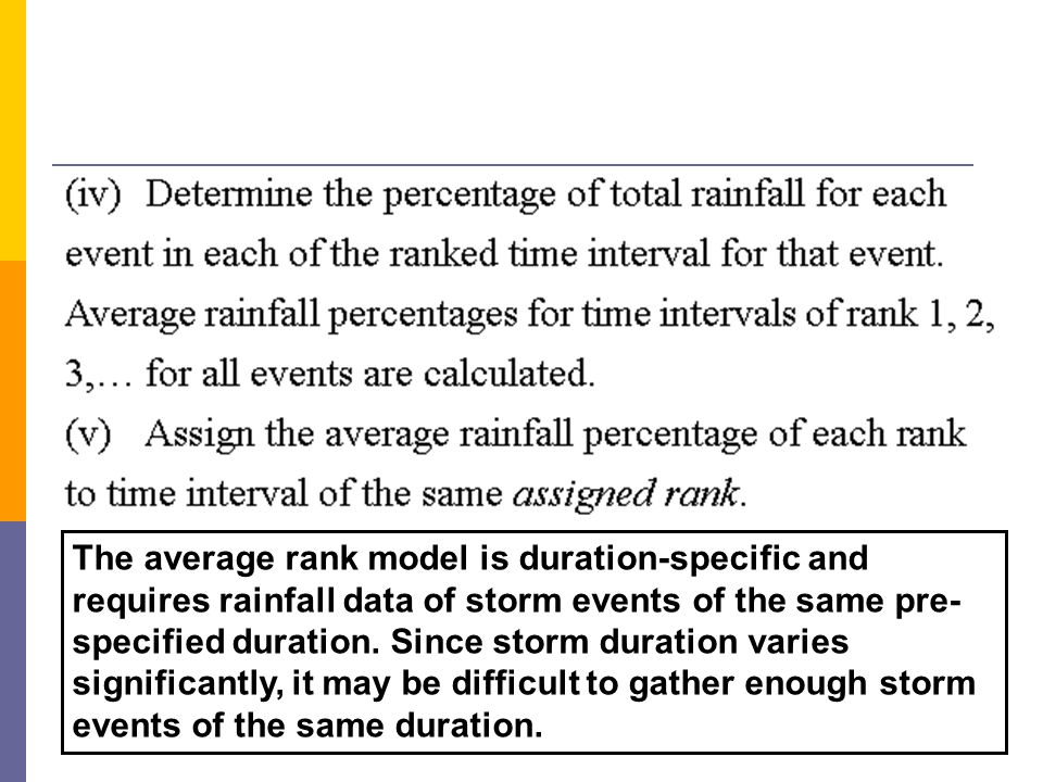 The average rank model is duration-specific and requires rainfall data of storm events of the same pre-specified duration.