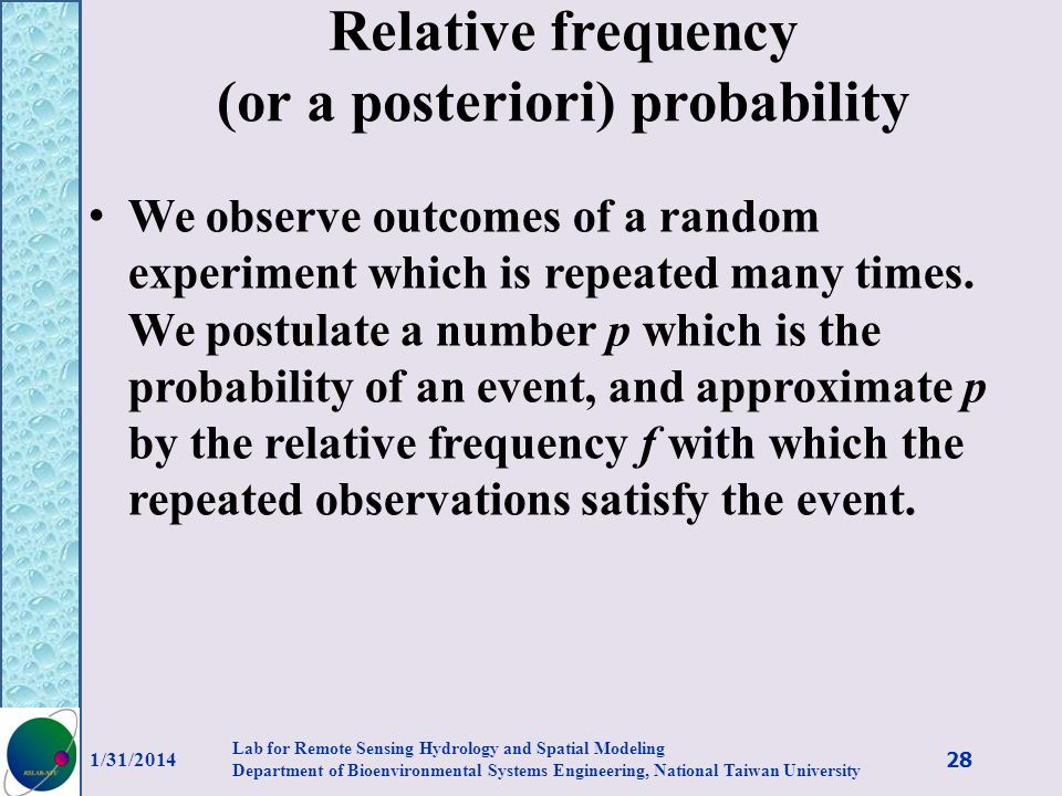 Relative frequency (or a posteriori) probability