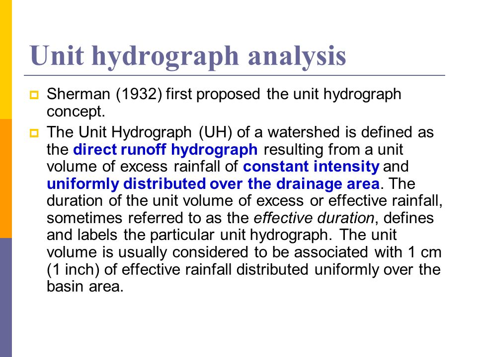 Unit hydrograph analysis