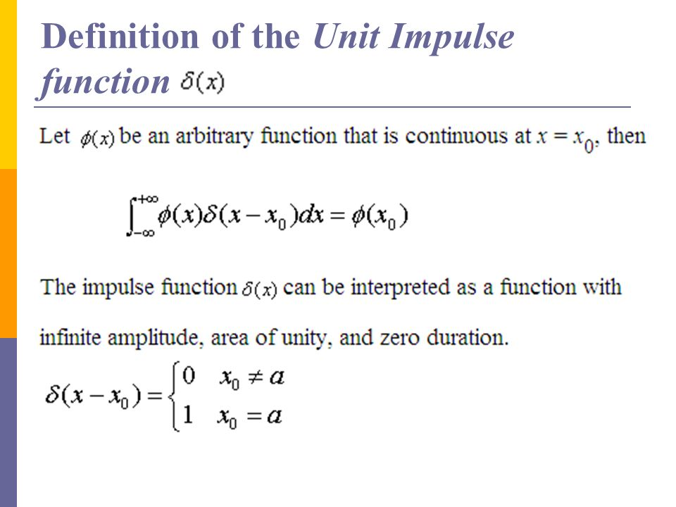 Definition of the Unit Impulse function