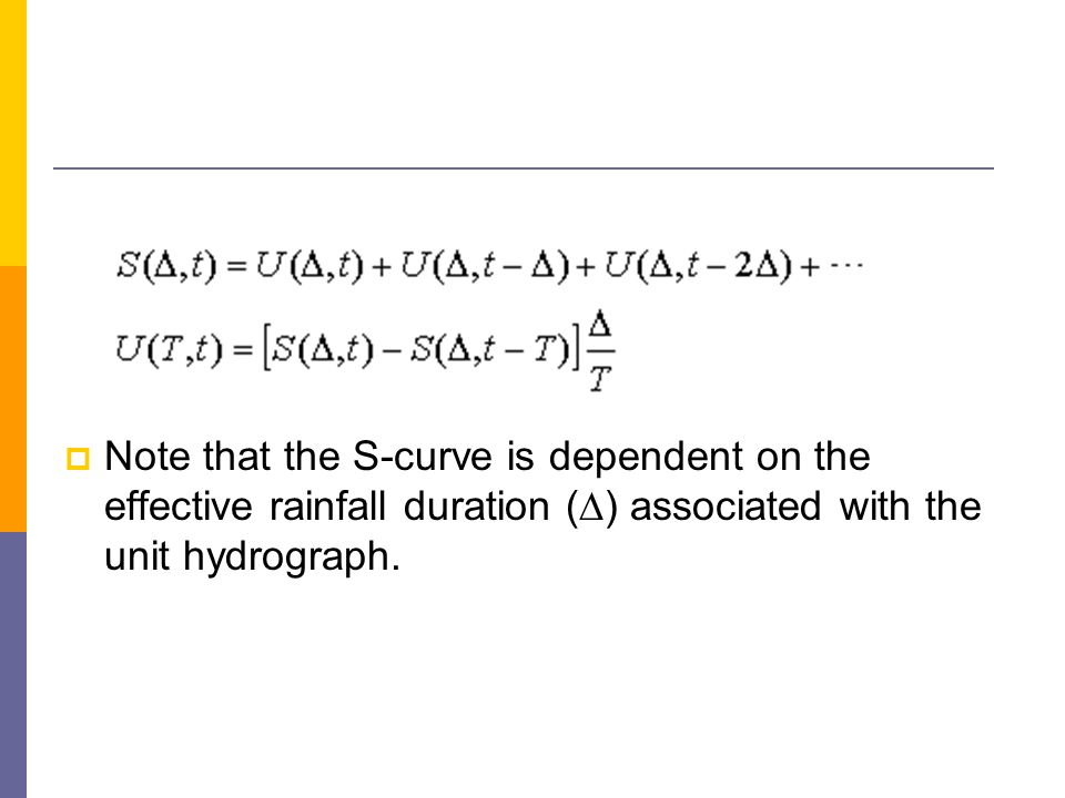 Note that the S-curve is dependent on the effective rainfall duration () associated with the unit hydrograph.