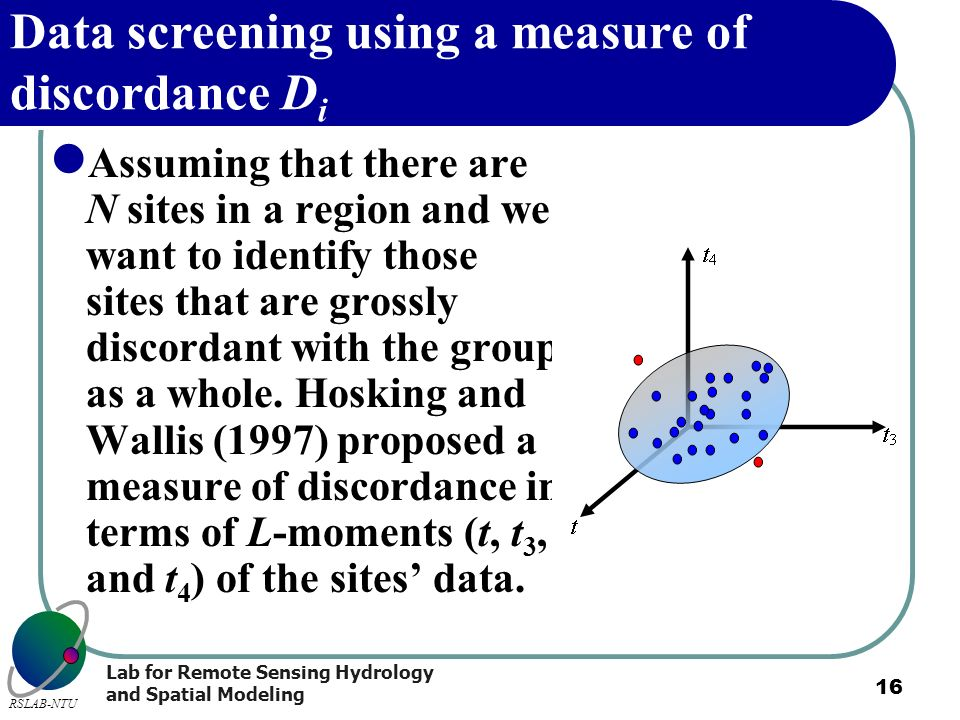 Data screening using a measure of discordance Di