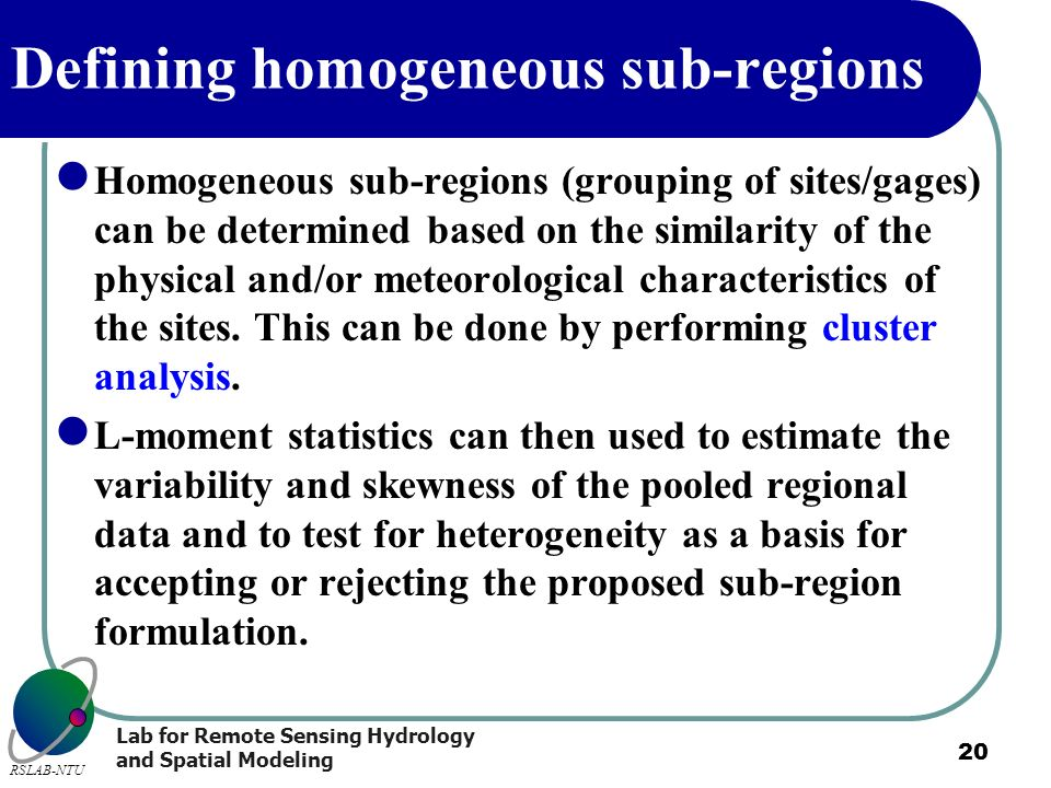 Defining homogeneous sub-regions