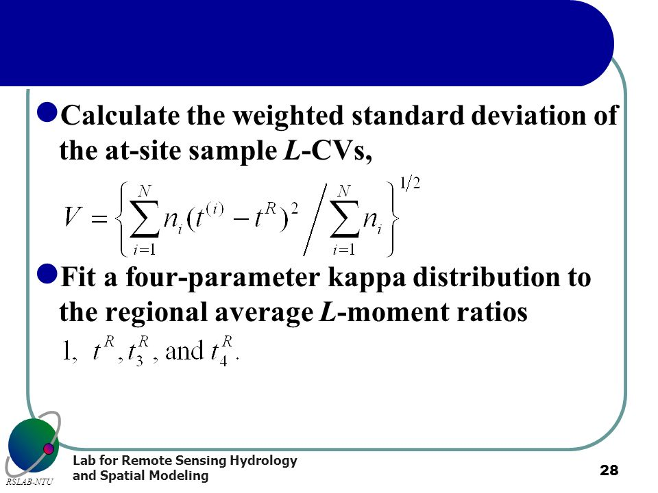 Calculate the weighted standard deviation of the at-site sample L-CVs,