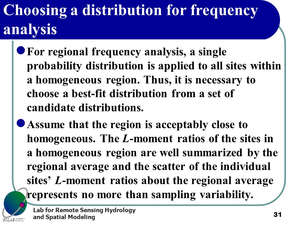 Choosing a distribution for frequency analysis