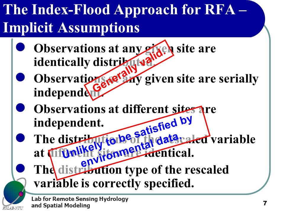 The Index-Flood Approach for RFA – Implicit Assumptions