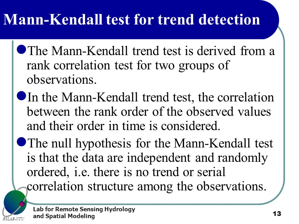 Mann-Kendall test for trend detection
