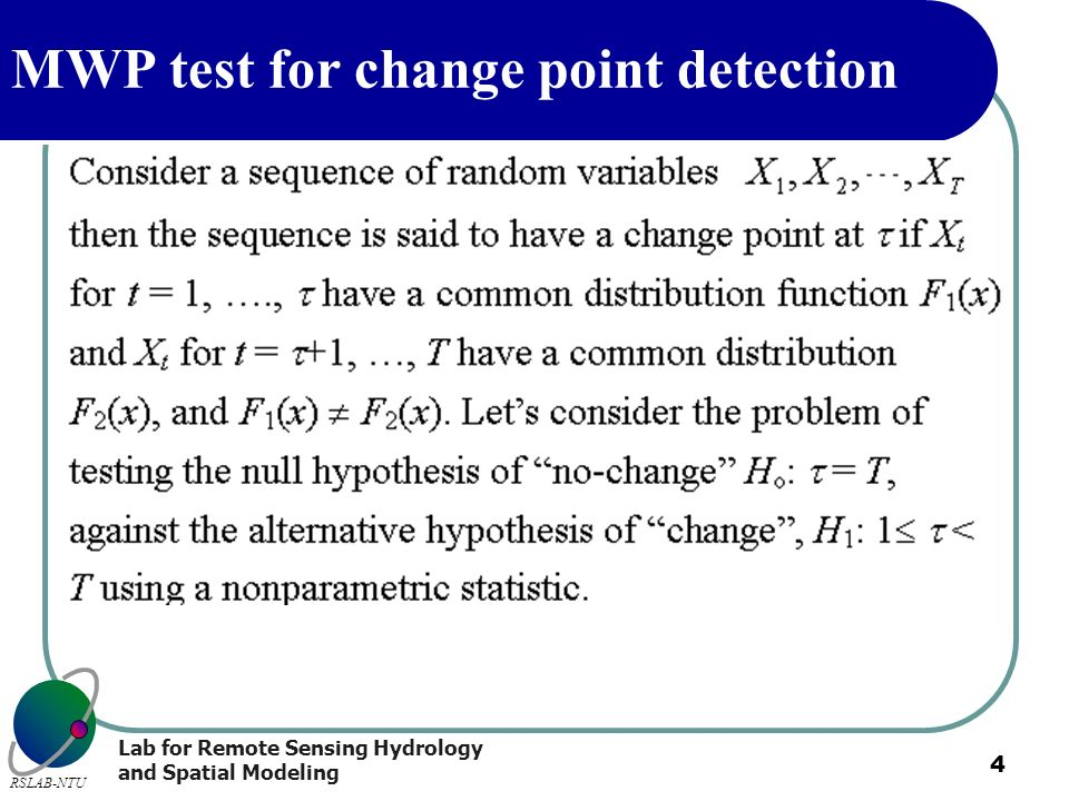 MWP test for change point detection