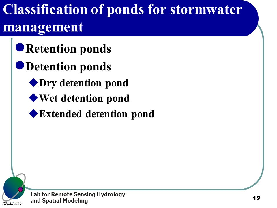 Classification of ponds for stormwater management