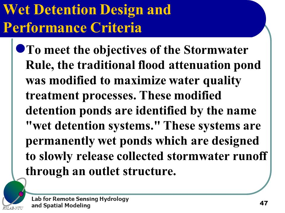 Wet Detention Design and Performance Criteria