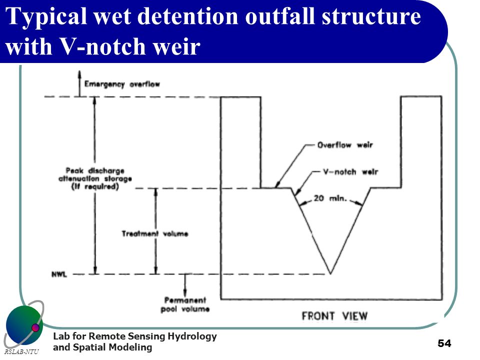 Typical wet detention outfall structure with V-notch weir