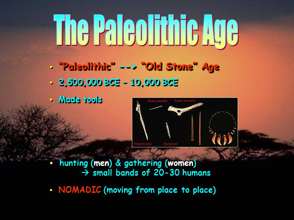 The Paleolithic Age Paleolithic --> Old Stone Age. 2,500,000 BCE – 10,000 BCE. Made tools.