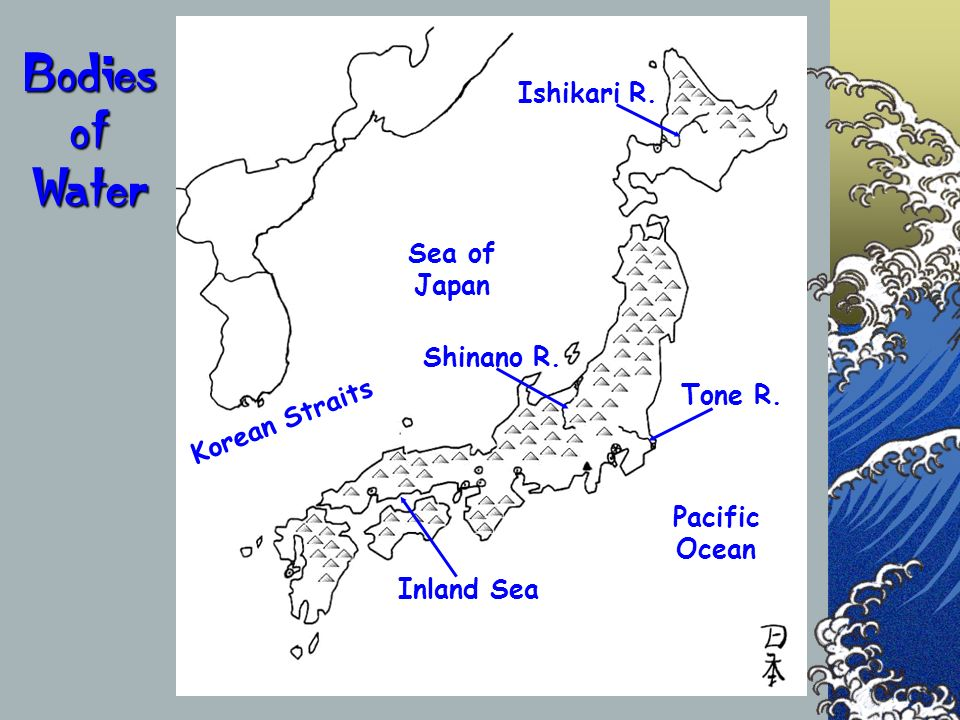 Bodies of Water Ishikari R. Sea of Japan Shinano R. Tone R.