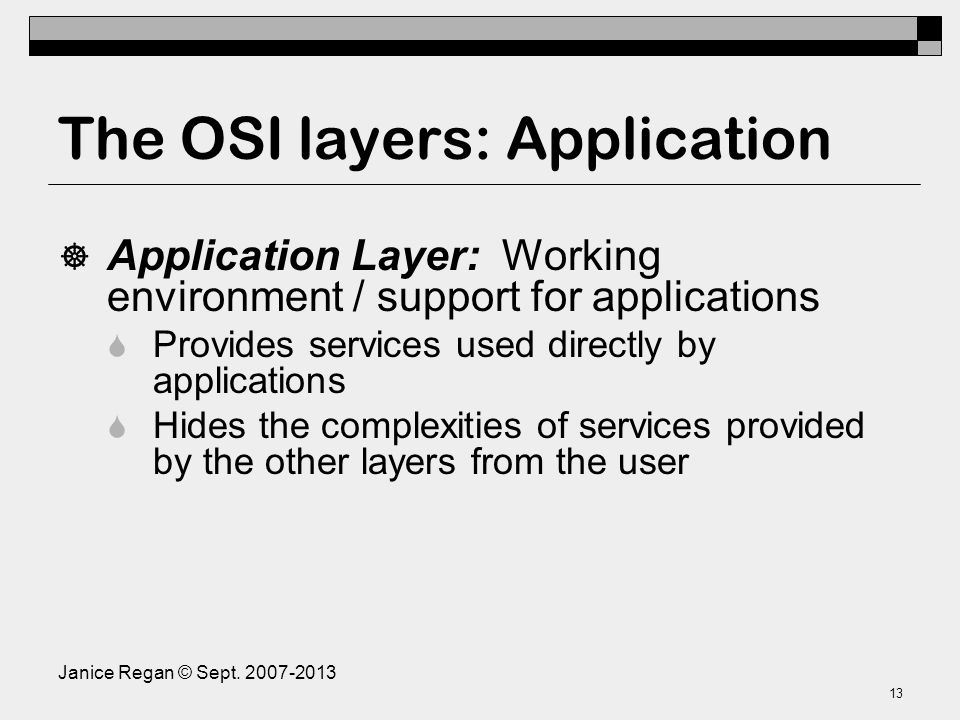 The OSI layers: Session Layer