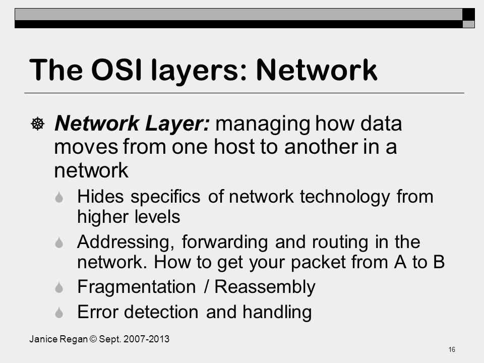 The OSI layers: Data Link
