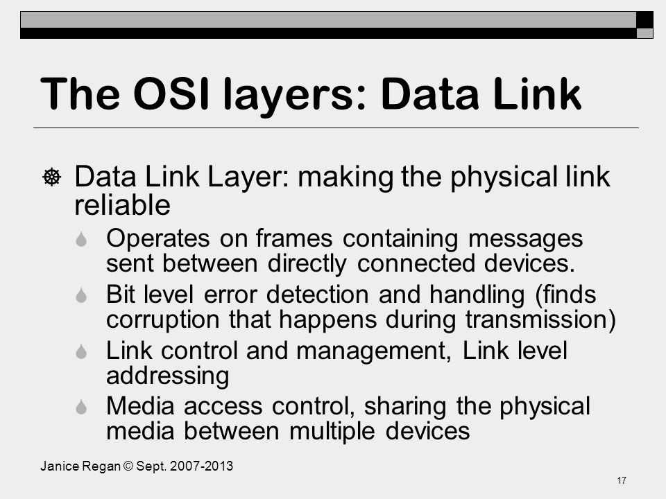 The OSI layers: Physical