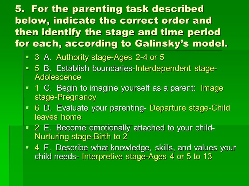 5. For the parenting task described below, indicate the correct order and then identify the stage and time period for each, according to Galinsky's model.