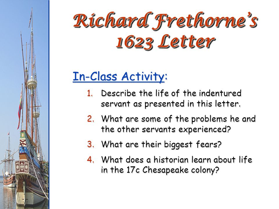 Richard Frethorne's 1623 Letter