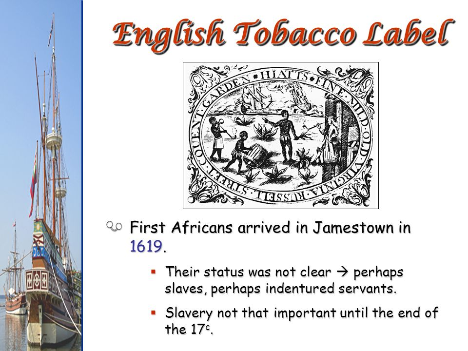 English Tobacco Label First Africans arrived in Jamestown in 1619.