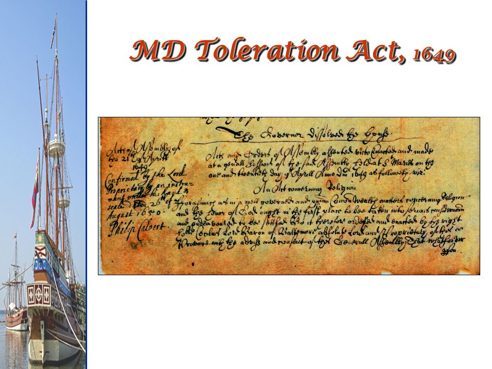 MD Toleration Act, 1649