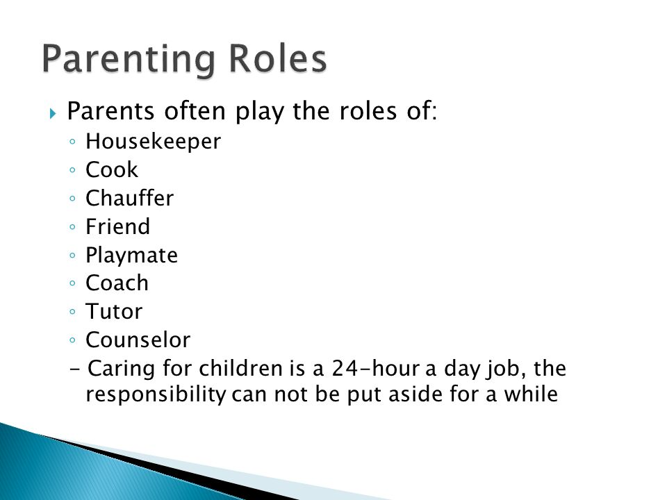 Parenting Roles Parents often play the roles of: Housekeeper Cook