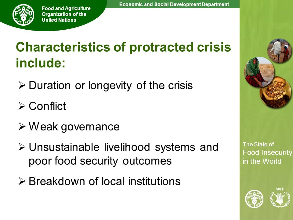 Characteristics of protracted crisis include: