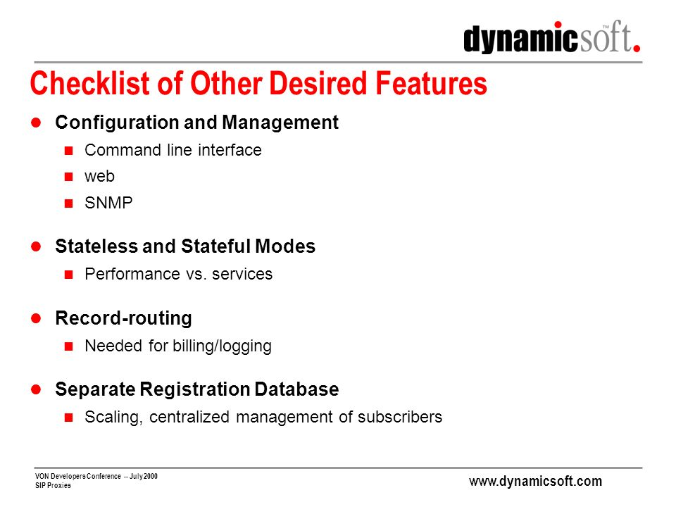 Checklist of Other Desired Features