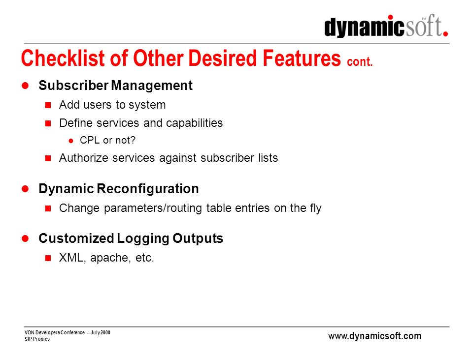 Checklist of Other Desired Features cont.