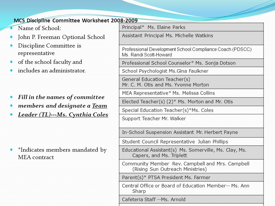John P Freeman Optional School Ppt Video Online Download. Mcs Discipline Mittee Worksheet. Worksheet. In School Suspension Worksheets At Mspartners.co