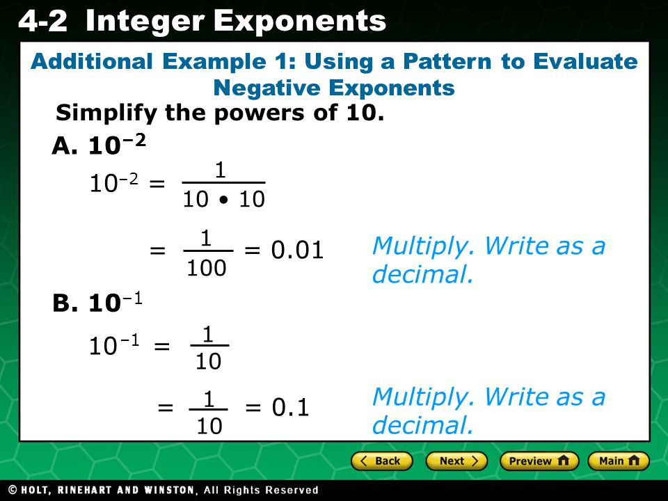 Additional Example 1: Using a Pattern to Evaluate Negative Exponents
