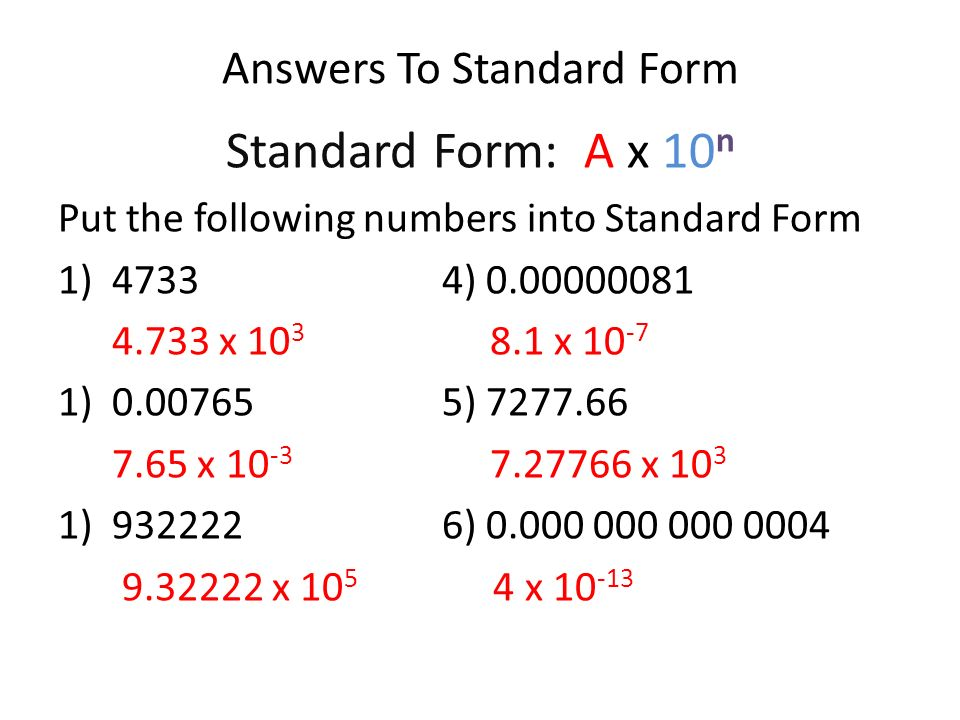 Converting Numbers To Standard Form Ppt Video Online Download