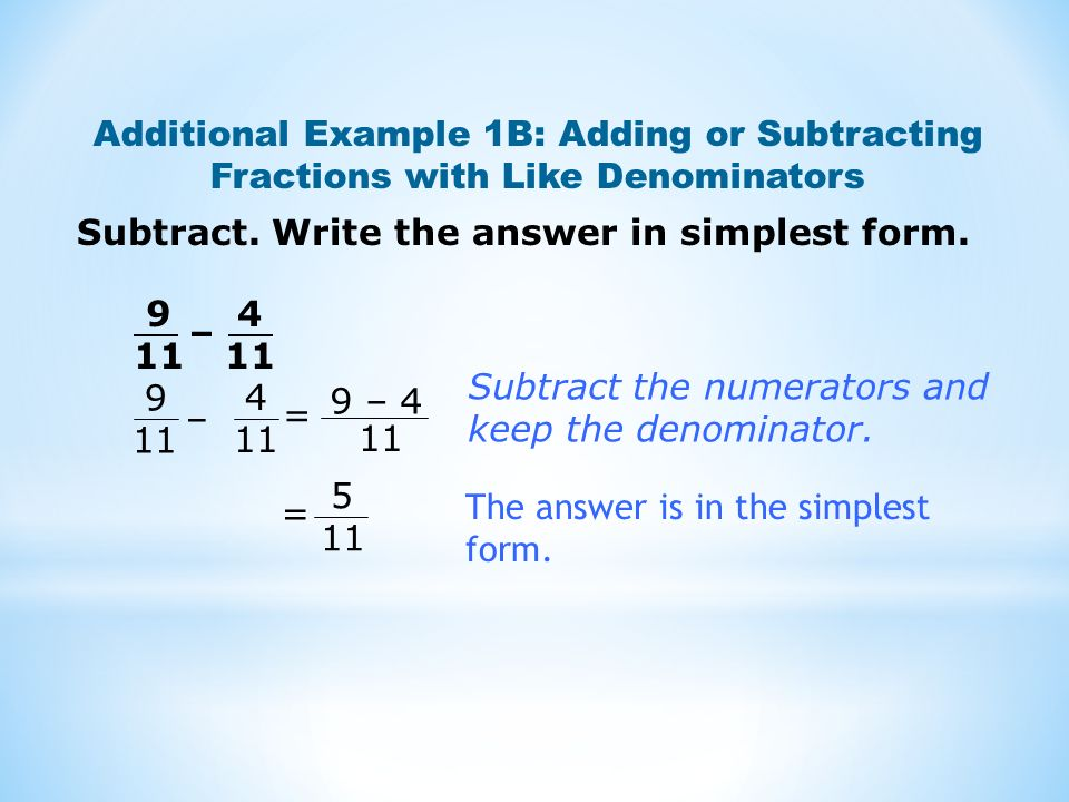 Subtract. Write the answer in simplest form.