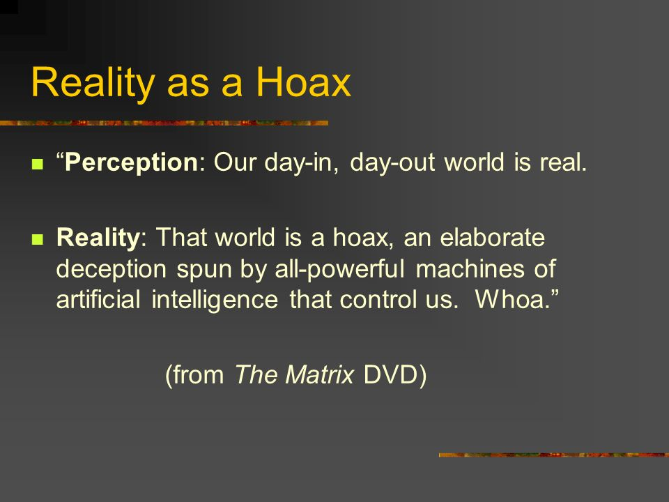 Reality as a Hoax Perception: Our day-in, day-out world is real.